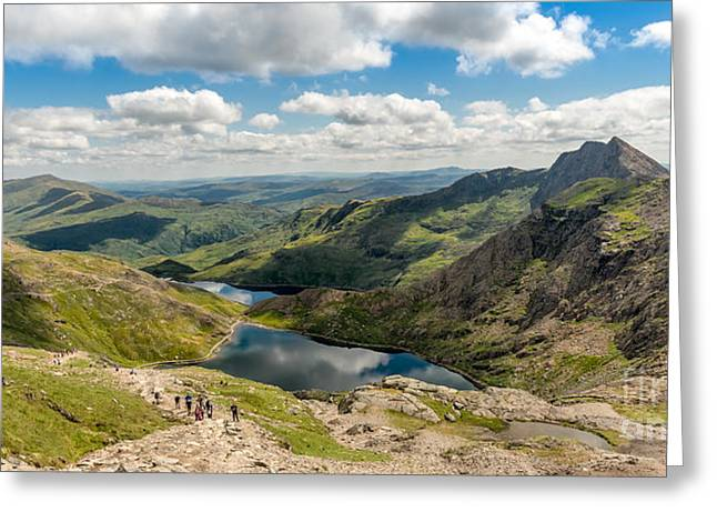 Summit Greeting Cards - Snowdon Miners Path Greeting Card by Adrian Evans