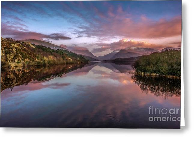 Snowdon Sunset Greeting Card by Adrian Evans