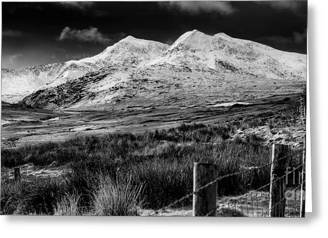Snowdon Winter Greeting Card by Adrian Evans
