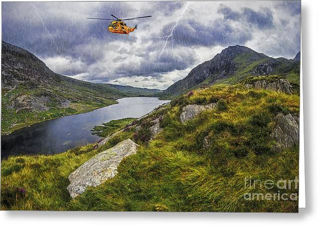 Conditions Digital Greeting Cards - Snowdonia Mountain Resuce Greeting Card by Ian Mitchell