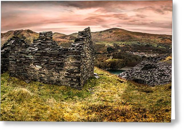 Dilapidated Digital Art Greeting Cards - Snowdonia Ruins Panorama Greeting Card by Adrian Evans