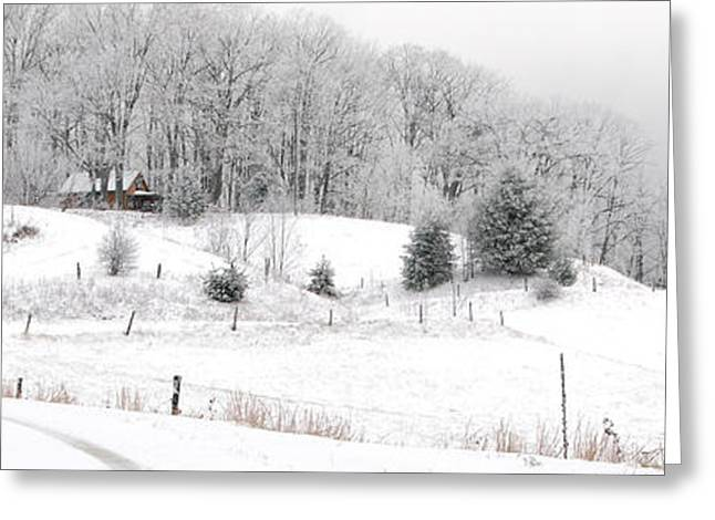Snow Scene Landscape Greeting Cards - Snowed In Greeting Card by Alan Lenk