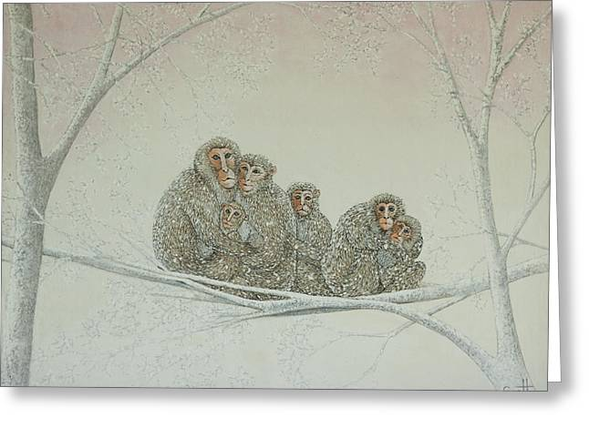 Ape Greeting Cards - Snowed under Greeting Card by Pat Scott