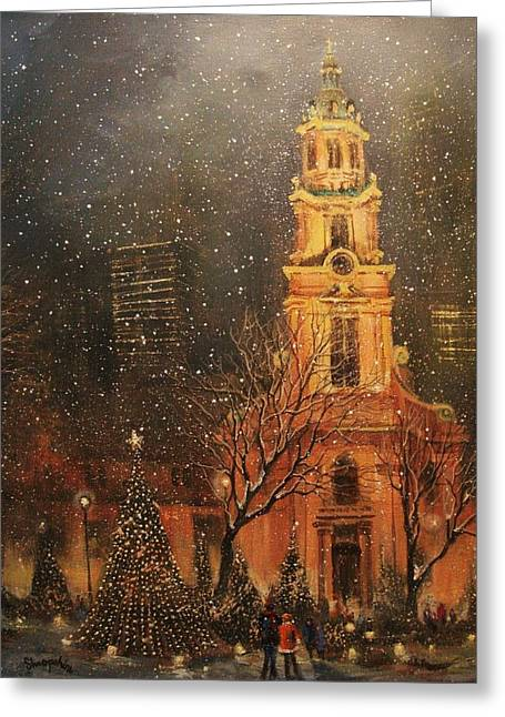 Snowfall In Cathedral Square - Milwaukee Greeting Card by Tom Shropshire