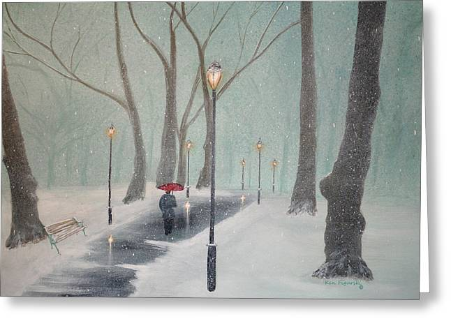 Snowy Night Greeting Cards - Snowfall In The Park Greeting Card by Ken Figurski