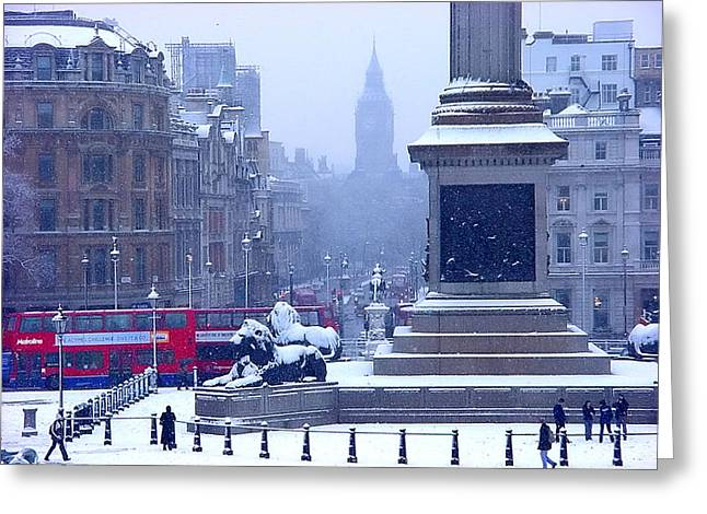 Snowfall Invades London Greeting Card by Christopher Robin