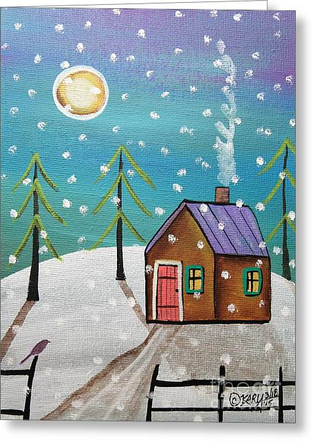 Snow Tree Prints Paintings Greeting Cards - Snowfall Greeting Card by Karla Gerard