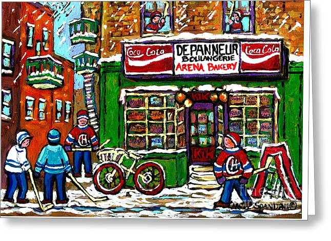 Hockey Paintings Greeting Cards - Snowfall Street Hockey Arena Bakery Montreal Memories Coca Cola Sign Original Winter Scene For Sale Greeting Card by Carole Spandau