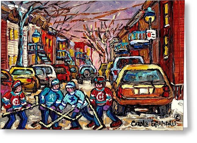 Snow Scene Landscape Greeting Cards - Snowfall Street Hockey Montreal Memories Original Hockey Paintings For Sale By Carole Spandau Greeting Card by Carole Spandau