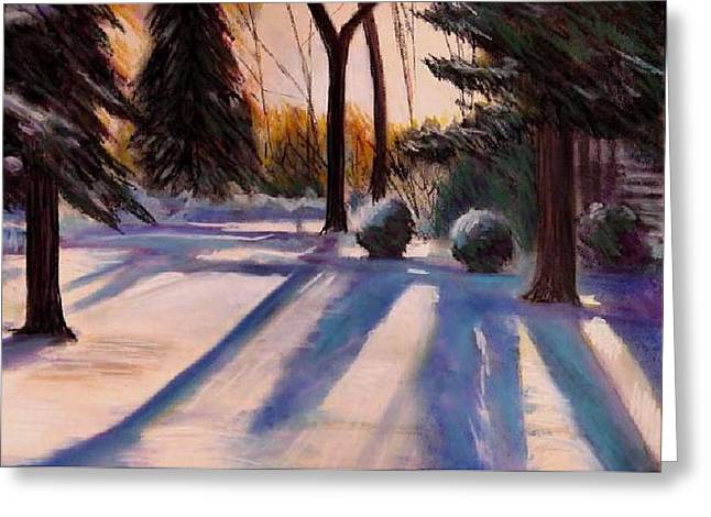 Winter Park Pastels Greeting Cards - Snowfield Greeting Card by George Grace