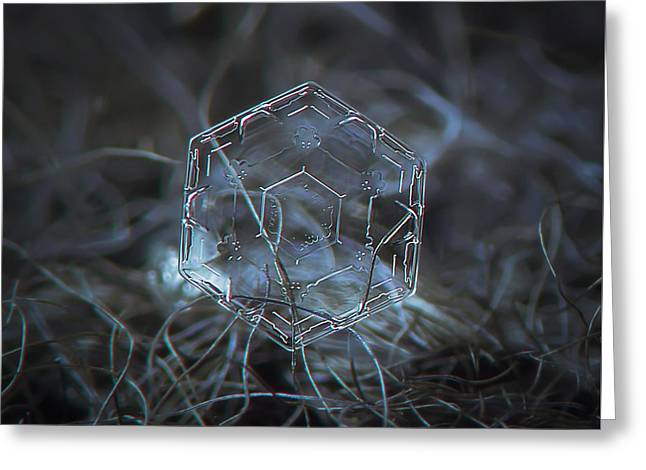 Snowflake Photo - Molten Glass Greeting Card by Alexey Kljatov