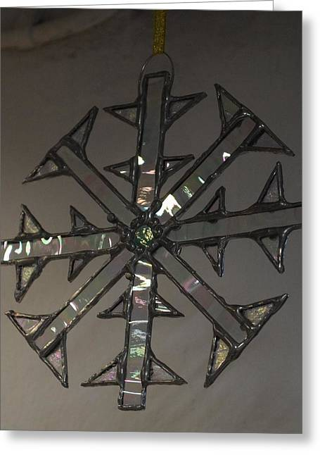 Waterglass Greeting Cards - Snowflake Greeting Card by Rosalind Duffy