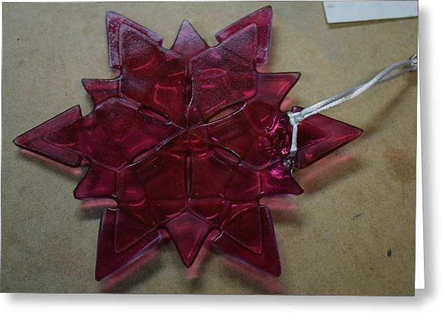 Star Glass Greeting Cards - Snowflake/Star Greeting Card by Rosalind Duffy