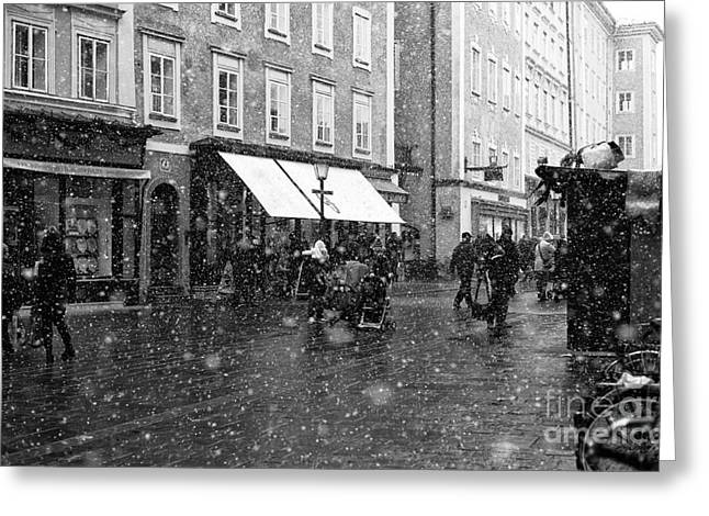 Art In Salzburg Greeting Cards - Snowflakes in Salzburg Greeting Card by John Rizzuto