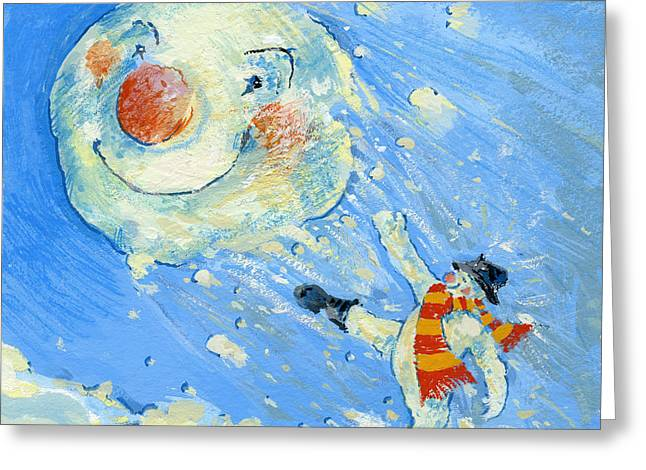 Snowball Greeting Cards - Snowman and snowball  Greeting Card by David Cooke