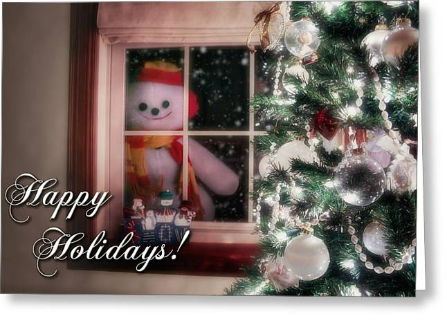 Snowman At The Window Card Greeting Card by Tom Mc Nemar