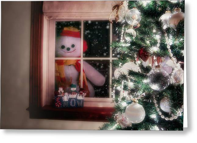 Tobogganing Greeting Cards - Snowman at the Window Greeting Card by Tom Mc Nemar