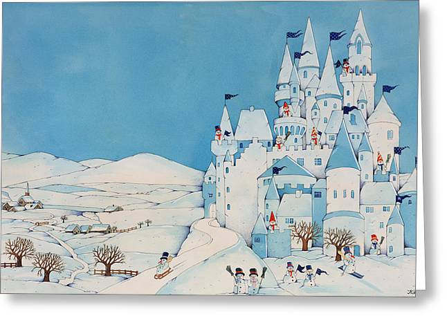 Broom Greeting Cards - Snowman Castle Greeting Card by Christian Kaempf
