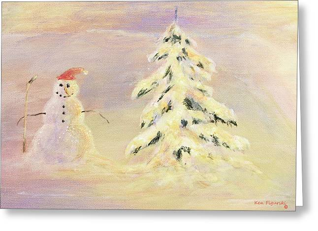 Kinkade Greeting Cards - Snowman Crop Greeting Card by Ken Figurski