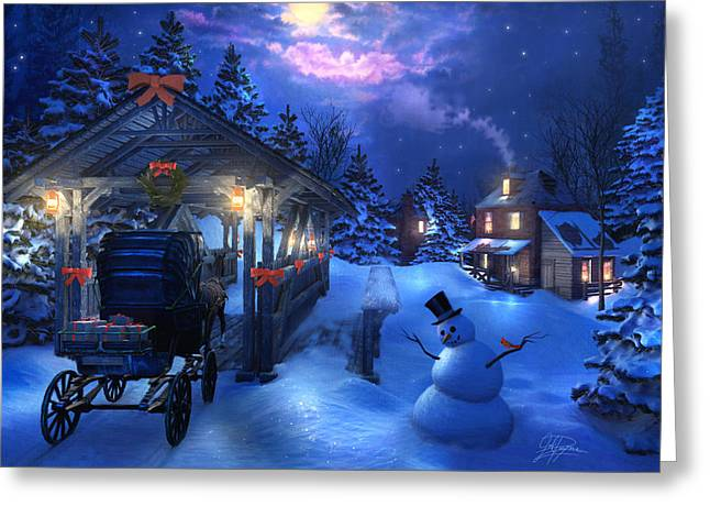 Snowman Crossing Greeting Card by Joel Payne