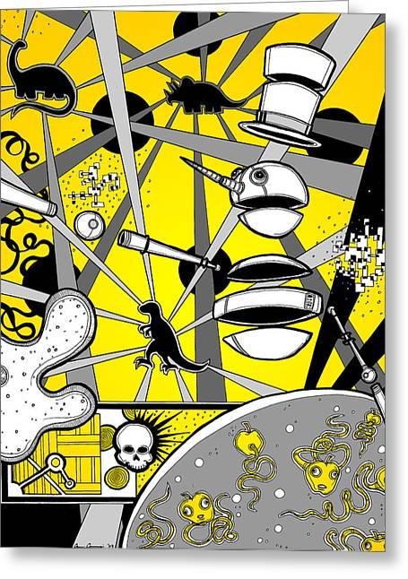 Creepy Digital Art Greeting Cards - Snowman Dino Disco Battle Greeting Card by Christopher Capozzi