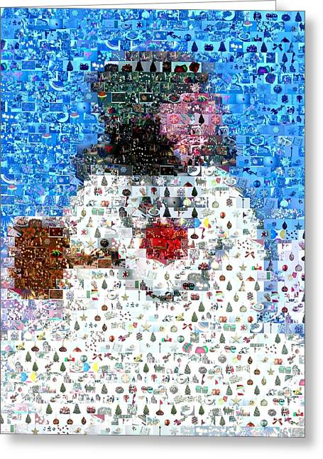 Frosty Mixed Media Greeting Cards - Snowman Holiday Scene Mosaic Greeting Card by Paul Van Scott
