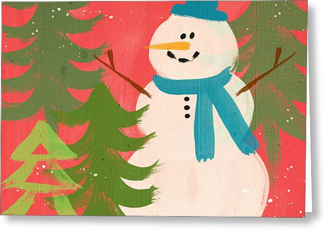 Snowman In Blue Hat- Art By Linda Woods Greeting Card by Linda Woods