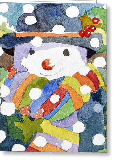 Snowman Christmas Card Greeting Cards - Snowman in snow Greeting Card by Jennifer Abbot