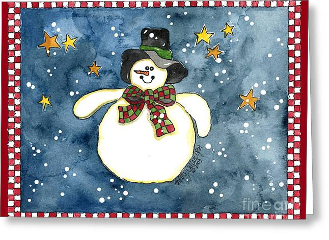 A Snowman On A Starry Night Greeting Card by Shelley Wallace Ylst