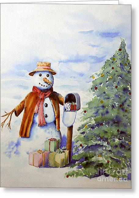 Sokolovich Paintings Greeting Cards - Snowman Presents Greeting Card by Ann Sokolovich