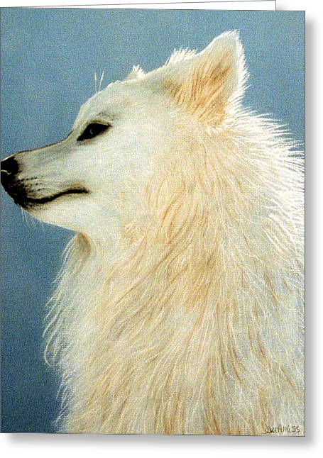 Husky Pastels Greeting Cards - Snowman The Samoyed Greeting Card by Jan Amiss