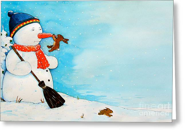 Snowman With Little Rabbit Greeting Card by Christian Kaempf