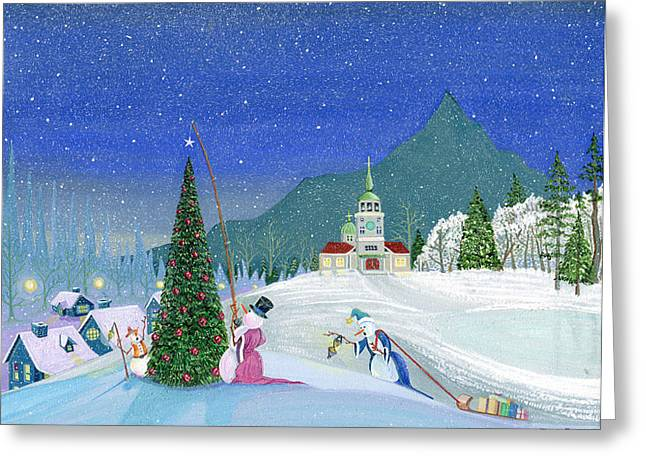 Snowman Greeting Cards - Snowmen In Sitka Greeting Card by Thomas Griffin