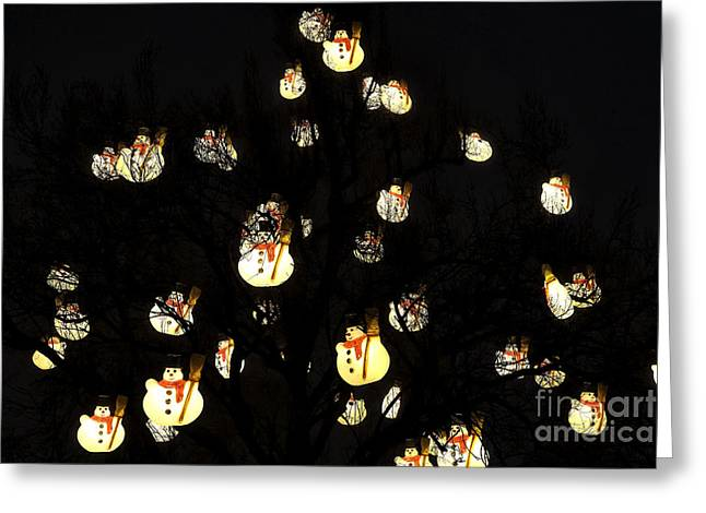 Christmas Market Greeting Cards - Snowmen in the Tree Greeting Card by John Rizzuto