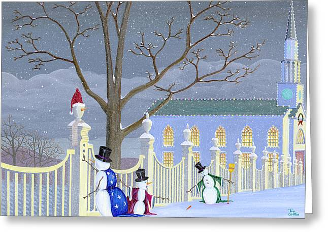 Christmas Art Greeting Cards - Snowmen In Vermont Greeting Card by Thomas Griffin