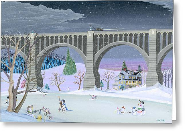 Recently Sold -  - Christmas Art Greeting Cards - Snowmen Next To Bridge Greeting Card by Thomas Griffin