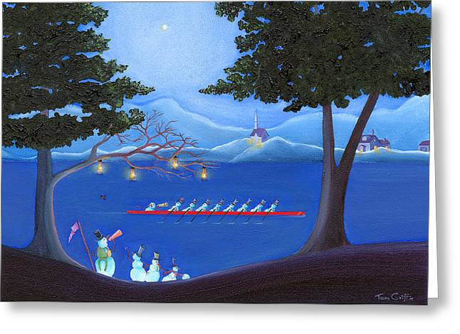 Recently Sold -  - Christmas Art Greeting Cards - Snowmen Rowing Greeting Card by Thomas Griffin
