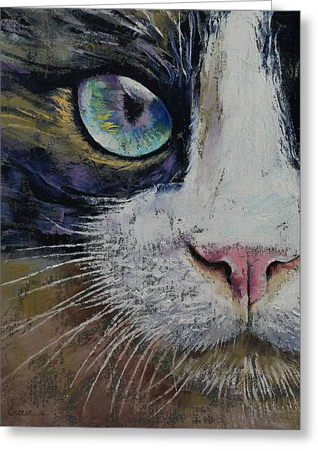 Snowshoe Cat Greeting Card by Michael Creese