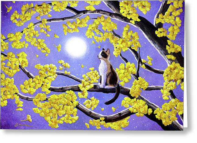 Snowshoe Siamese Kitten In Gingko Leaves Greeting Card by Laura Iverson