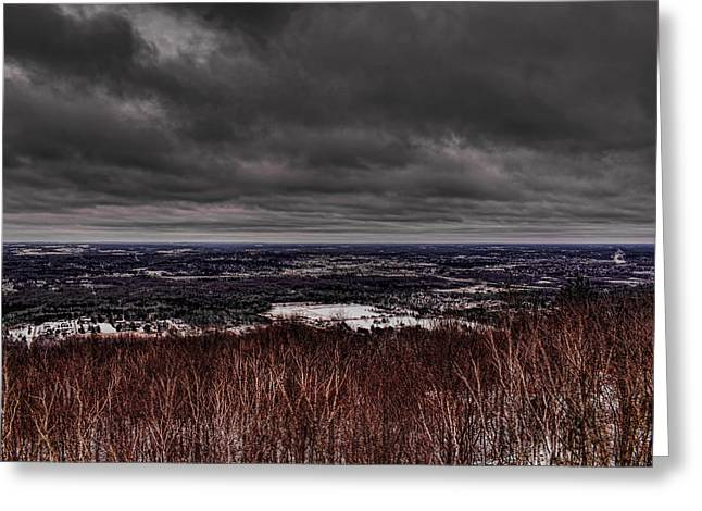 Snowstorm Clouds Over Rib Mountain State Park Greeting Card by Dale Kauzlaric