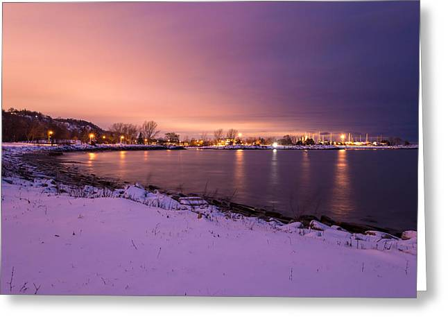 Snowy Night Greeting Cards - Snowy Beach at Night Greeting Card by Aymeric Gouin