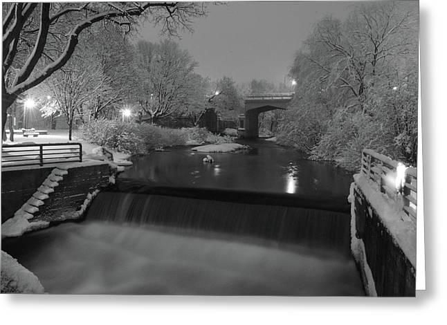 Snowy Night Night Greeting Cards - Snowy Bear River Greeting Card by Russell Todd