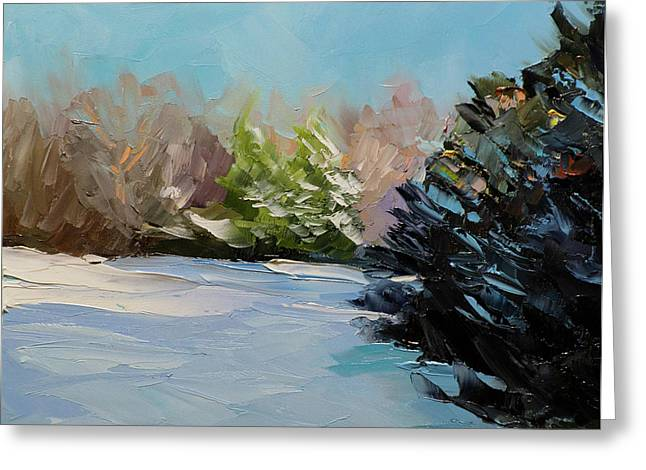 Snowy Bend Greeting Card by Mike Moyers