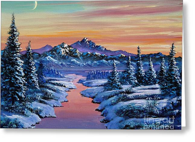 Moon River Greeting Cards - Snowy Creek Greeting Card by David Lloyd Glover