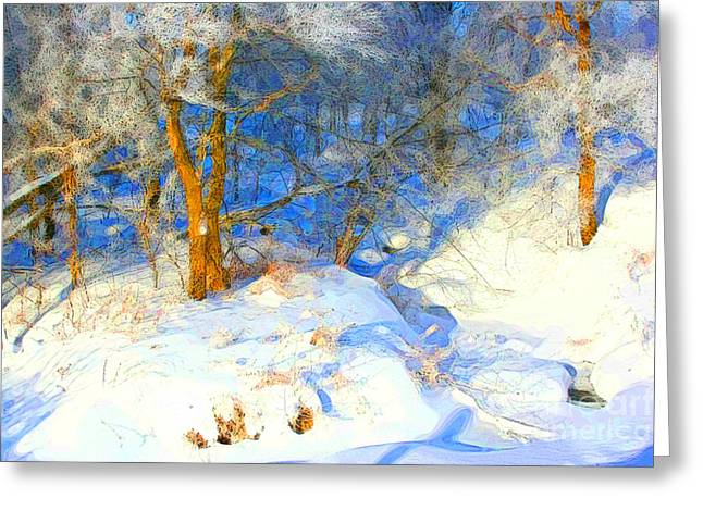 Snow Drifts Greeting Cards - Snowy Creek Greeting Card by Julie Lueders