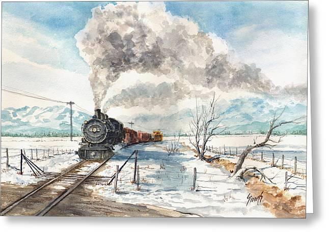 Train Crossing Greeting Cards - Snowy Crossing Greeting Card by Sam Sidders