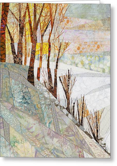 Shadows Tapestries - Textiles Greeting Cards - Snowy Dawn Greeting Card by Linda Beach