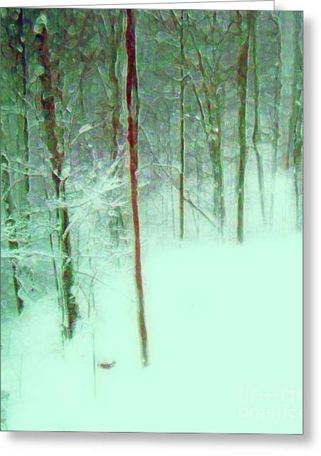 Snowstorm Mixed Media Greeting Cards - Snowy Day Greeting Card by Desiree Paquette