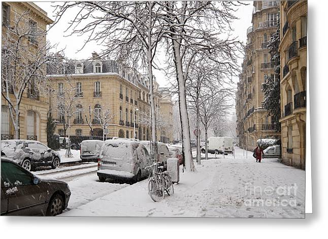 Unprepared Greeting Cards - Snowy Day in Paris Greeting Card by Louise Heusinkveld
