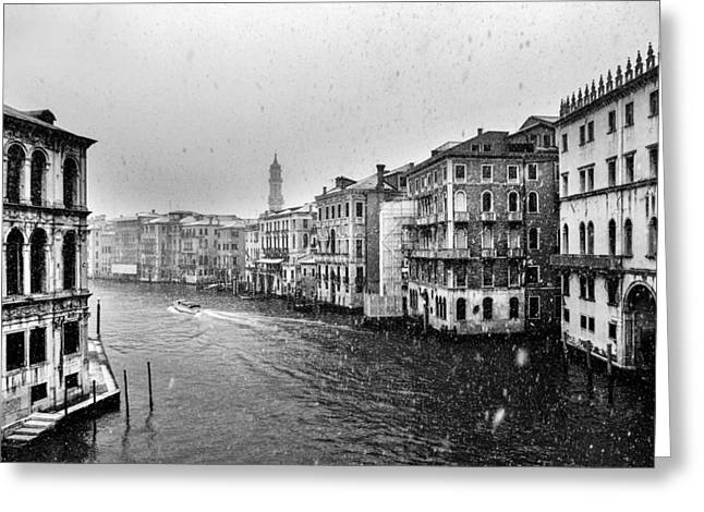 Snow White Greeting Cards - Snowy day in Venice Greeting Card by Yuri Santin